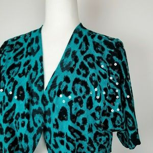INC Cropped Animal Print Sequin Cardigan XL